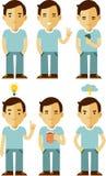 Manncharaktere eingestellt in verschiedene Haltungen Stockfotos