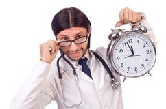 Manndoktor mit der Uhr lokalisiert Lizenzfreies Stockbild