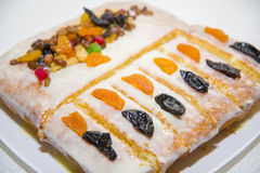 Manne delicious cake with dried fruit homemade. A very delicious dessert Stock Photo
