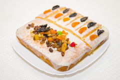Manne delicious cake with dried fruit homemade. A very delicious dessert Royalty Free Stock Images