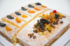 Manne delicious cake with dried fruit homemade. A very delicious dessert Royalty Free Stock Photography