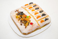 Manne delicious cake with dried fruit homemade. A very delicious dessert Stock Photos