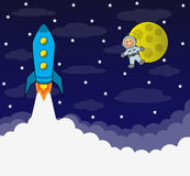 Manned space flight. Cartoon rocket flies into space on a background of the sky, the moon and astronauts Stock Photography