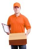 Manneilbote in der Orange Lizenzfreies Stockfoto