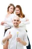 Manneinfluß camomline mit zwei Frauen Stockfotografie