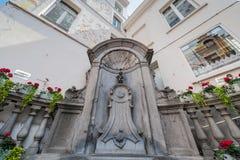 Manneken Pis -beeldhouwwerk in Brussel, België royalty-vrije stock afbeeldingen
