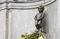 Manneken Pis statue in the centre of Brussels. Stock Photos