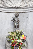 Manneken Pis statue in the centre of Brussels. Stock Photography