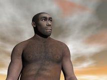 Mannelijk 3D homo erectus - geef terug Stock Afbeelding