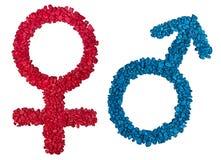 Mannelijk en Vrouwelijk geslachtssymbool Stock Foto