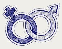 Mannelijk en vrouwelijk geslachtssymbool royalty-vrije illustratie