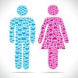 Mannelijk en vrouwelijk symbool in kleur Royalty-vrije Stock Afbeelding