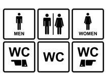 Mannelijk en vrouwelijk WC-pictogram dat toilet, toilet aanduidt Stock Foto