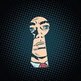 Mannelijk gezicht in het sleutelgat, geheime geheimzinnigheid vector illustratie