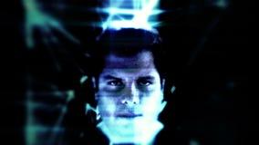 Mannelijk gezicht van het defect zijn kunstmatige intelligentie stock video