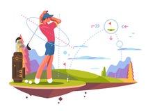 Mannelijk Golfspeler Speelgolf vector illustratie