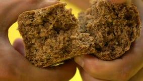 Mannelijk handen tearing zwart brood, armoede, het bedelen, lage sociale zekerheid, close-up stock videobeelden