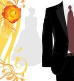 Mannelijk kostuum en silhouet van fiancee Stock Afbeeldingen
