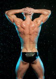 Mannelijk model in aquastudio Stock Afbeelding
