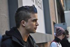 Mannelijk model bij de stad van New York fashionweek, 18 februari 2015 Royalty-vrije Stock Fotografie