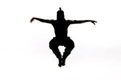 Mannelijk ninjasilhouet op witte achtergrond royalty-vrije stock fotografie
