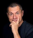 Mannelijk Portret met groteske emoties Stock Foto's