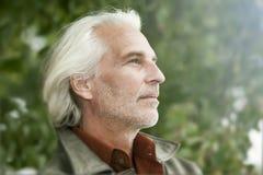 Mannelijk portret met witte baard Stock Foto
