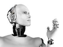 Mannelijk robothoofd in profiel. Stock Afbeelding