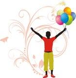 Mannelijk silhouet met kleurrijke ballons Royalty-vrije Stock Foto's