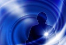 mannelijk silhouet op een blauwe achtergrond stock afbeeldingen