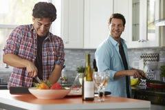 Mannelijk vrolijk paar die een maaltijd samen in de keuken voorbereiden royalty-vrije stock afbeelding