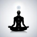 Mannelijk yogasilhouet Stock Afbeeldingen