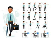 Mannelijk Zwart Afrikaans Bedienden 2D Karakter Klaar om Vastgestelde Dragende Lange Koker te gebruiken vector illustratie