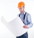 Mannelijke architect tegen witte achtergrond Royalty-vrije Stock Foto