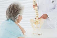 Mannelijke arts die de stekel verklaren aan een hogere patiënt stock foto's