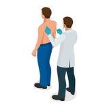 Mannelijke arts die een patiënt met stethoscoop onderzoeken bij het ziekenhuis Isometrische vectorillustratie voor geneeskunde of Royalty-vrije Stock Foto