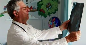 Mannelijke arts die een röntgenstraal onderzoeken stock video