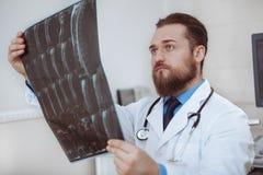 Mannelijke arts die x-ray aftasten onderzoeken op zijn kantoor royalty-vrije stock foto