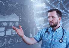 Mannelijke arts en virtuele computerinterface in 3D illustratie Royalty-vrije Stock Fotografie