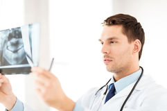 Mannelijke arts of tandarts die röntgenstraal bekijken Stock Foto's