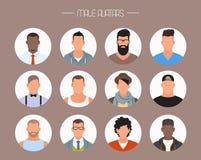 Mannelijke avatar pictogrammen vectorreeks Mensenkarakters in vlakke stijl Gezichten met verschillende stijlen en nationaliteiten Stock Afbeelding