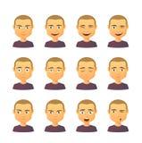 Mannelijke avatar uitdrukkingsreeks Stock Foto