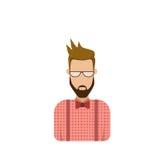 Mannelijke Avatar van het profielpictogram Mens, Hipster-Beeldverhaal Guy Beard Portrait, Toevallig Person Silhouette Face Stock Foto