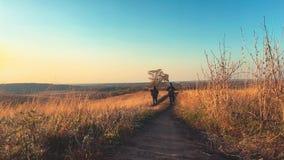 Mannelijke backpackers die in bergavontuur wandelen De reis van het wandelaarpaar geniet landschap van de het levens van het tone stock footage
