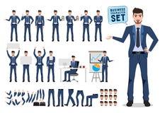 Mannelijke bedrijfskarakter vectorreeks Het karakterverwezenlijking van het bedrijfsmensenbeeldverhaal vector illustratie