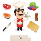 Mannelijke Chef-kok Icons Set Royalty-vrije Stock Afbeeldingen