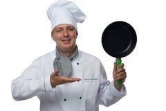 Mannelijke chef-kok met in hand pan Royalty-vrije Stock Afbeelding