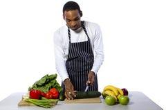 Mannelijke Chef-kok op een Witte Achtergrond stock foto