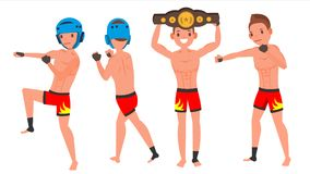 Mannelijke de Spelervector van MMA Stelt Reeks Spiersporten Guy Workout In Actie De Illustratie van het beeldverhaalkarakter vector illustratie