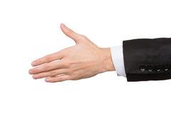 Mannelijke die hand klaar voor handdruk op wit wordt geïsoleerd Royalty-vrije Stock Afbeelding